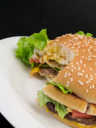 missing bite: Hamburger with cheese, tomatoes and salad