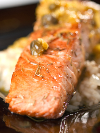 upperdeck view: Salmon with capers sauce
