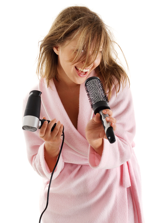hairbrush: Woman singing with hairbrush