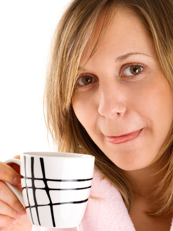 housecoat: Woman drinking morning coffee Stock Photo