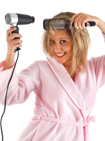 housecoat: Female drying hair