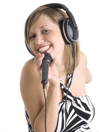''wide angle'': Wide angle shot of girl singing with microphone