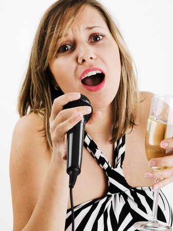 wideangle: Wide angle shot of girl singing with microphone