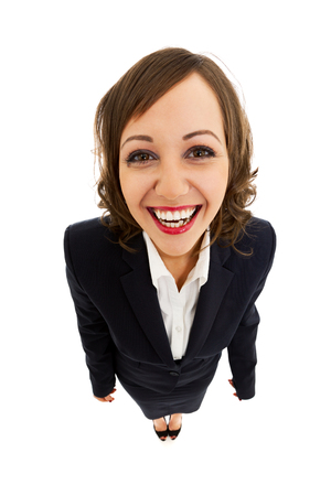 ''wide angle'': Businesswoman isolated on white background shot with wide angle lenses