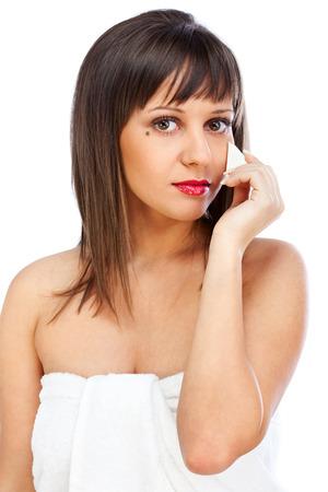 beauty shot: Beauty shot of woman applying make-up Stock Photo