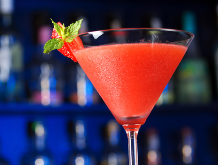 daiquiri alcohol: Ingredients for Strawberry Daiquiri:   12 oz strawberry schnapps  1 oz light rum  1 oz lime juice  1 tsp powdered sugar  1 oz strawberries Stock Photo