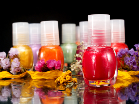 to polish: Nail polish Stock Photo