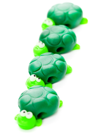 polymer: Turtles made of polymer clay Stock Photo