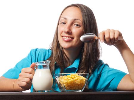 comiendo cereal: Desayuno del cereal