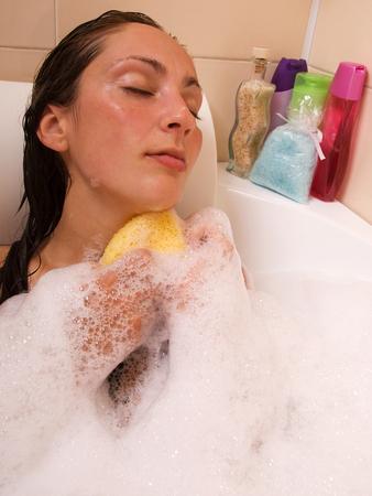 taking bath: Woman taking bath