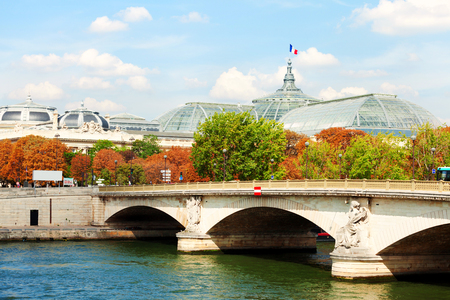 palais: Paris, France - September 02, 2011 : Pont des Invalides in a sunny day. Grand Palais is visible in the background