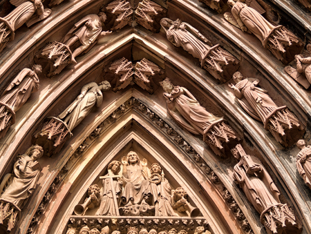 strasbourg: Close up of statues engraved on Strasbourg cathedral. Stock Photo