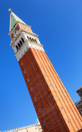 tilted view: St Marks Campanile in Venice Italy. Vertical shot. Tilted view.