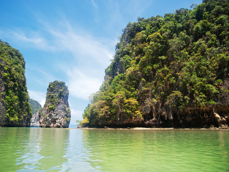 andaman sea: Khao Phing Kan is a pair of islands on the west coast of Thailand, in the Phang Nga Bay, Andaman Sea, near Phuket. Shot on a bright sunny day. Stock Photo