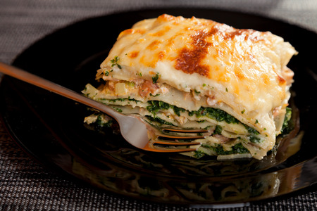 Typical Italian lasagna with spinach and salmon Reklamní fotografie
