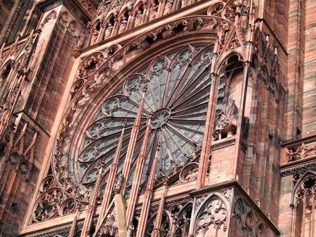 strasbourg: Close up details of Strasbourg cathedral. Horizontal shot.
