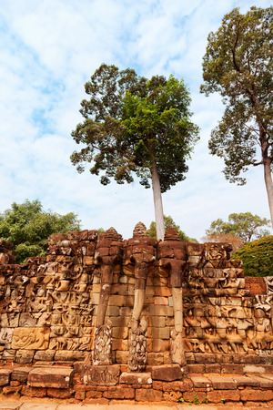 Elephant Terrace in Ankgor Thom, Cambodia. Full length view