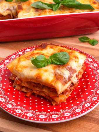 Lasagna Bolognese - classic italian pasta recipe. Shot from above, close up
