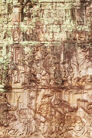 stone carvings: Details of stone carvings at Bayon Temple in Angkor Thom, Cambodia Stock Photo