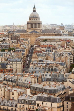 coeur: Paris skyline and rooftops. Shot from Notre Dame cathedral. Sacre Coeur cathedral on background