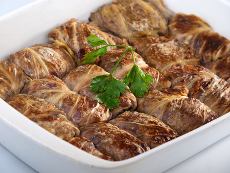 vertica: Stuffed cabbage rolls with meat and rice. Vertica shot
