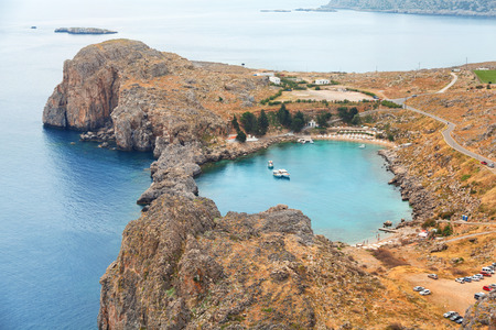 Aerial view over St. Paul Bay and the Aegean sea, Lindos, Rhodes Island, Greece