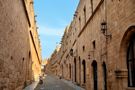 Narrow street in the old town of Rhodes, Greece. Horizontal shot
