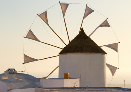 oia: Windmill in Oia, Santorini during a sunny summer day