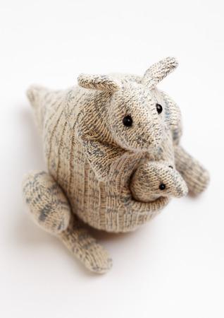 kangaroo white: Kangaroo sock toy isolated on white background Stock Photo