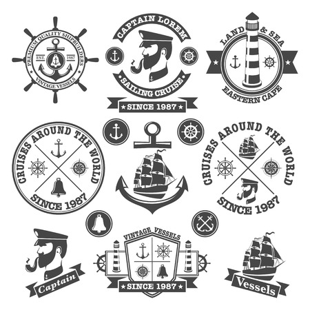 Set of vintage nautical labels and icons  Ilustracja