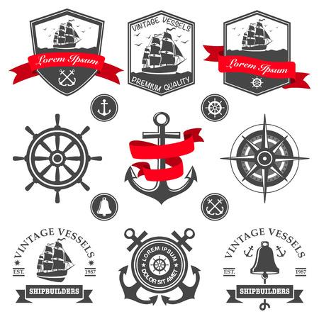 Set di etichette d'epoca nautiche e icone