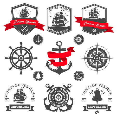 nautical rope: Set of vintage nautical labels and icons Illustration