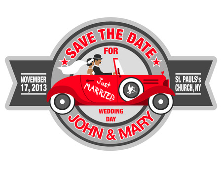 wedding invitation with bride and groom in retro car Vector