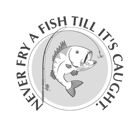 raptorial: Fishing emblem with proverb