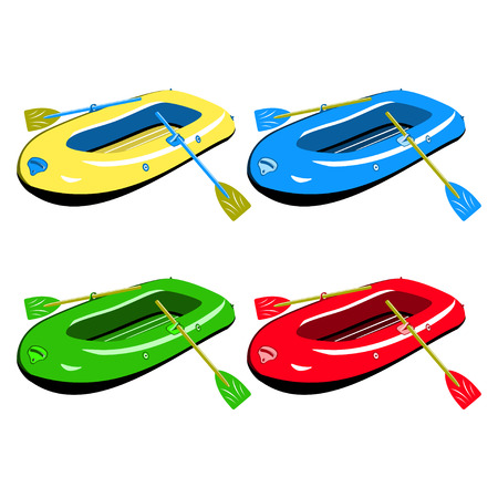 inflatable: Four colour inflatable boats