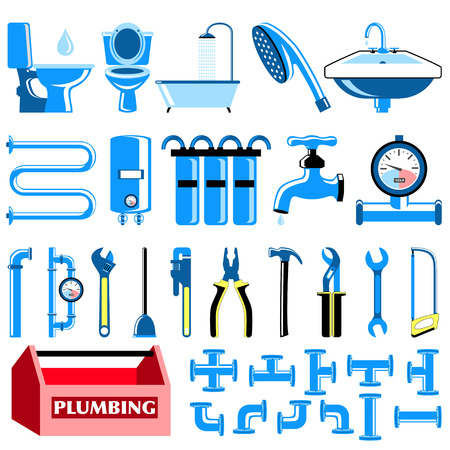 plumbing supply: Plumbing colour icons set
