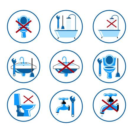 showering: Plumbing icons set 2 Illustration