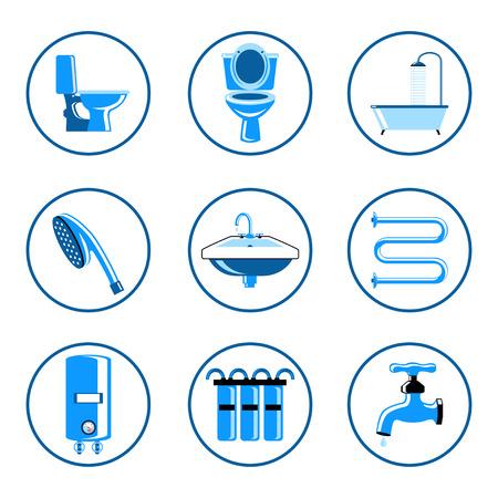 showering: Plumbing icons set