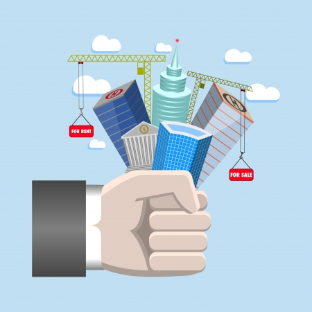 Vector illustration of real estate in fist Vector