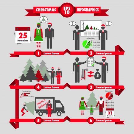 Christmas and business infographic choosing a christmas tree Vector