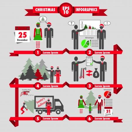 Christmas and business infographic choosing a christmas tree