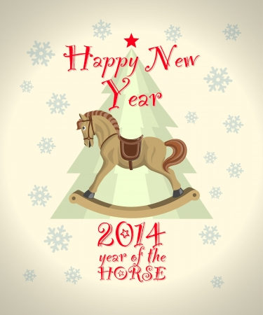 intage new year card with christmas tree and rocking horse Vector