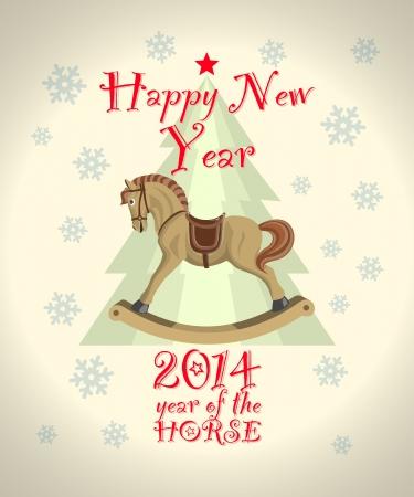 schommelpaard: intage nieuw jaar kaart met kerstboom en hobbelpaard