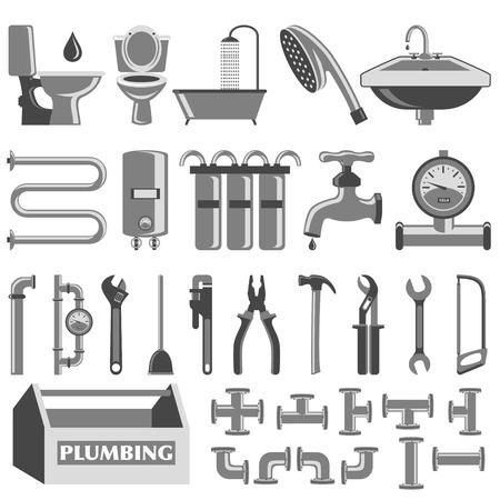 herramientas de plomeria: Los iconos de color Plomer�a establecen Vectores