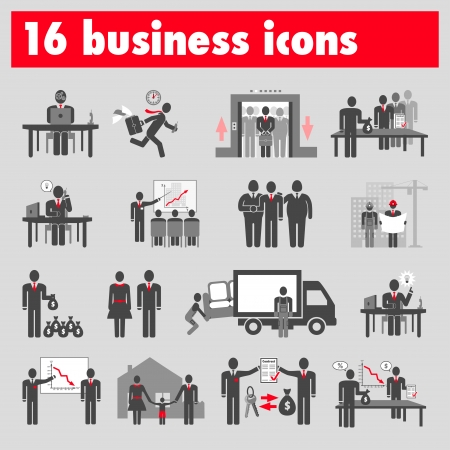 Sixteen business icons Stock Vector - 22764291