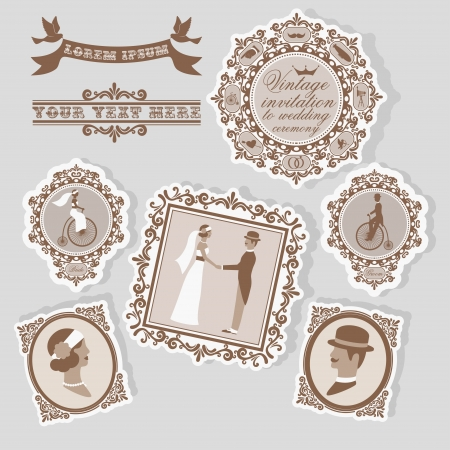 Vintage wedding invitation with people silluettes in frames Stock Vector - 22764290