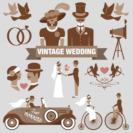 vintage: vintage bröllop set Illustration