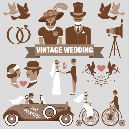 a wedding: vintage wedding set Illustration
