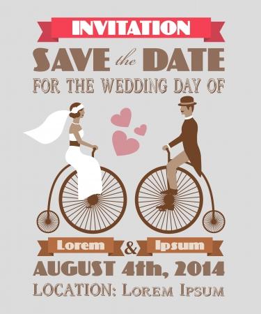 Invitación de la vendimia de la boda 2 Ilustración de vector