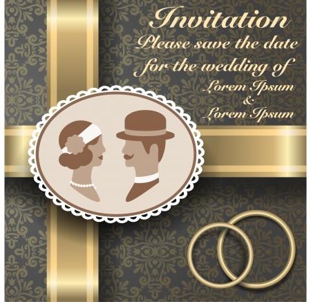 invitacion boda vintage: Invitaci�n de la vendimia de la boda 3 Vectores